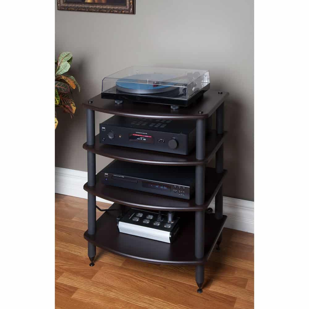 Pangea Audio Vulcan Four Shelf Audio Rack (Black) Media Stand