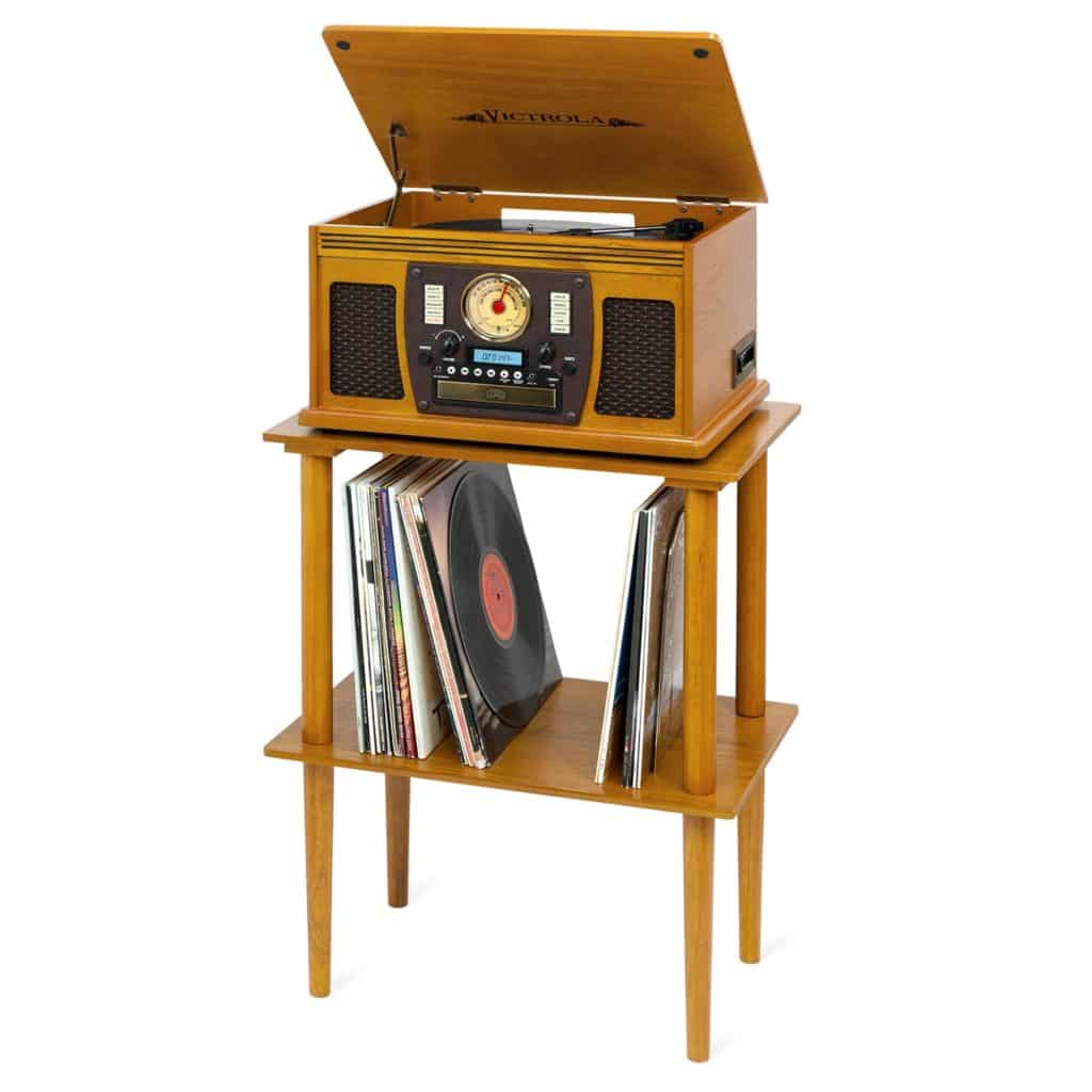 Victrola Wooden Stand for Wooden Music Centers with Record Holder Shelf