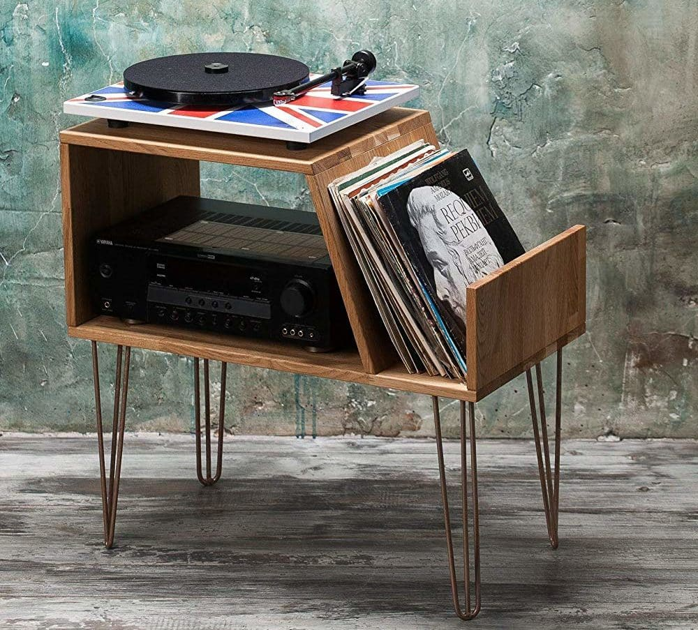 Lumiwood Vinyl Record storage, Record Player Cabinet, Media Console, Record player stand