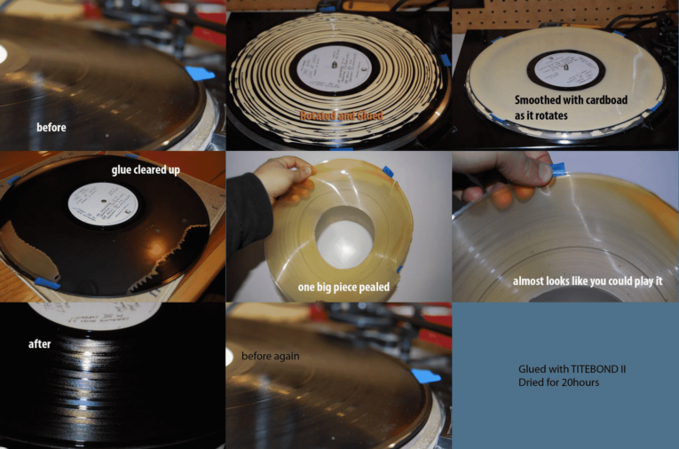 Clean record with wood glue