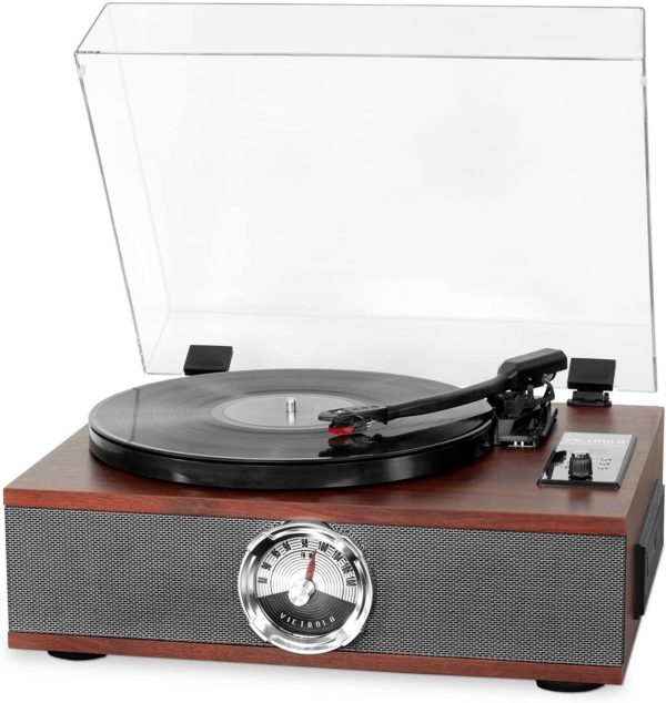 1. Victrola 5-in-1 Wood Bluetooth Record Player